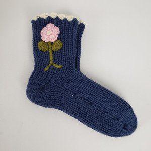 Blue Flower Printed Knitted Socks